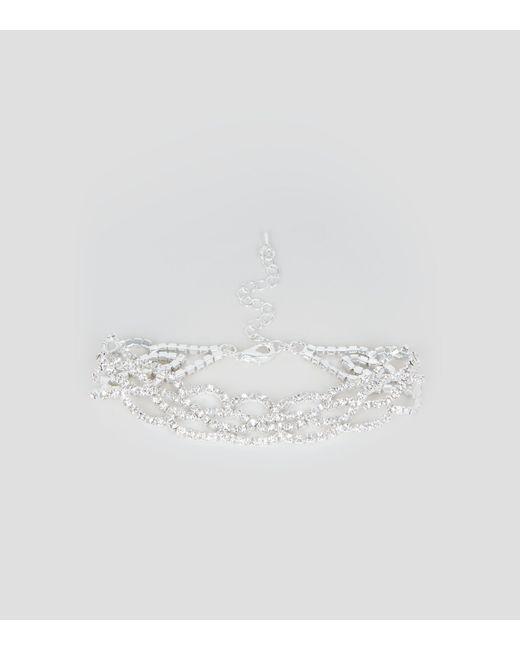 New Look | Metallic Silver Diamante Anklet | Lyst