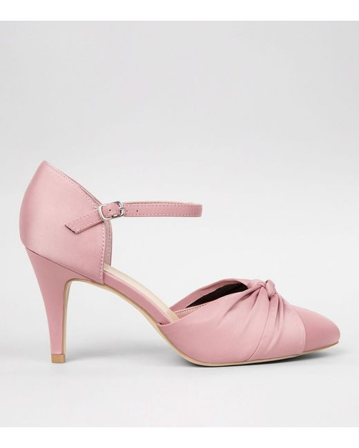 new look wide fit pink satin knot front court shoes in