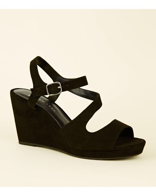 fb094cb414f New Look Wide Fit Black Suedette Strappy Wedges in Black - Lyst