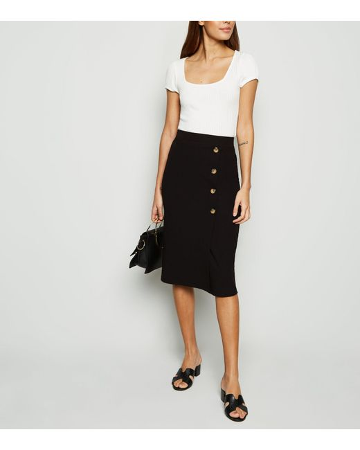0e1f52a7c New Look Black Button Front Midi Skirt in Black - Lyst