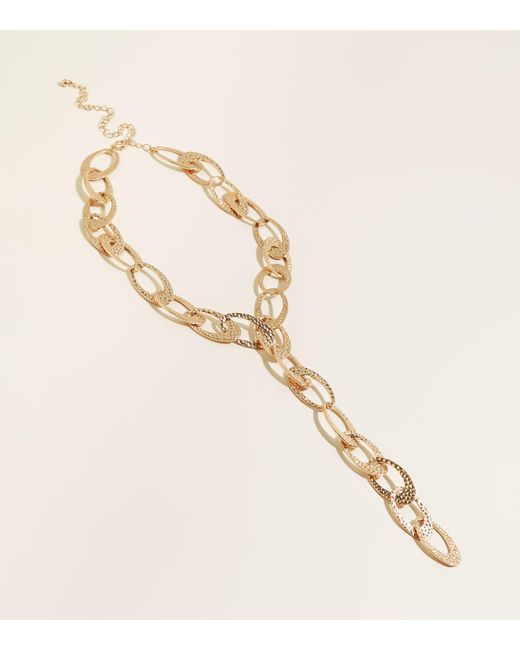 New Look - Metallic Gold Beaten Chain Lariat Necklace - Lyst