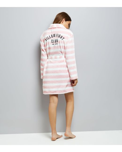 New Look   Natural Cream Stripe Embroidered Robe   Lyst