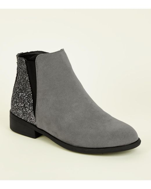 New Look - Gray Girls Grey Glitter Panel Ankle Boots - Lyst