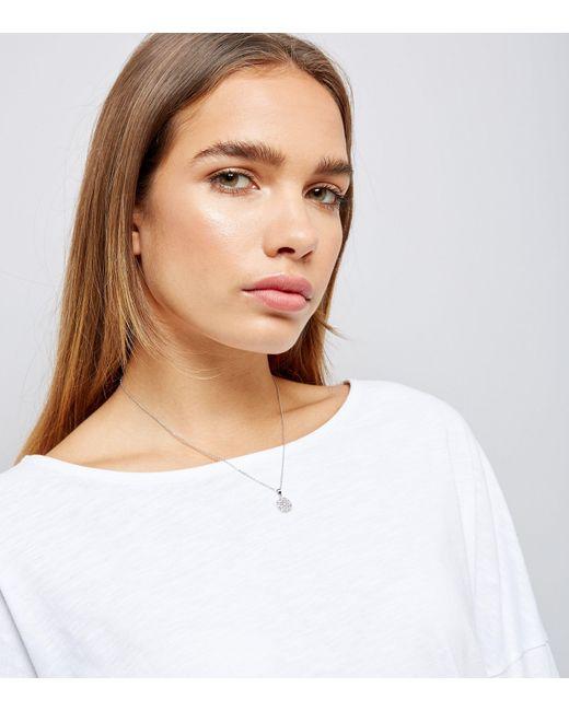 New Look   Metallic Silver Diamante Pendant Necklace   Lyst