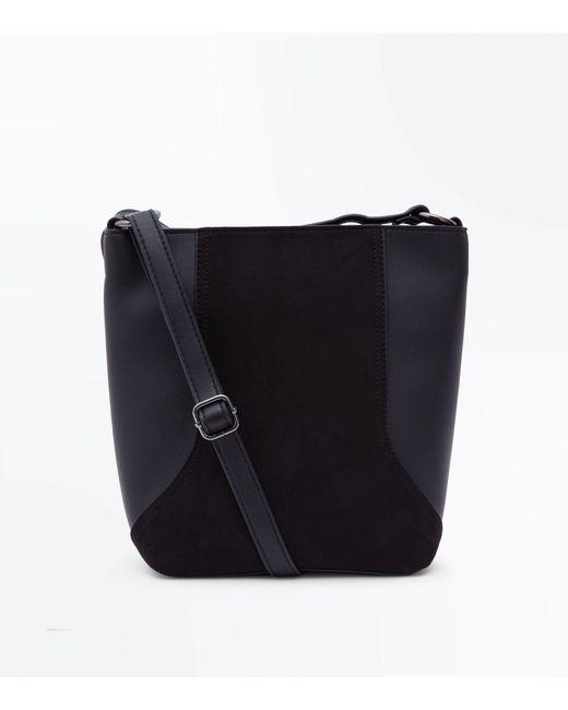 New Look - Black Suedette Panel Bucket Bag - Lyst