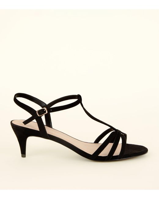 6b0ee8208f New Look - Wide Fit Black Comfort Flex Suedette Strappy Kitten Heels - Lyst
