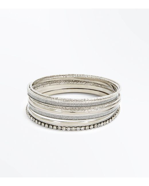 New Look - Metallic Silver Diamanté Embellished Bangle Pack - Lyst
