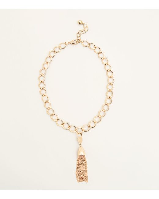 New Look - Metallic Gold Oversized Chain Tassel Necklace - Lyst