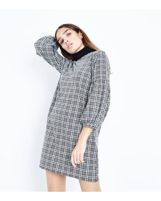 New Look | Gray Grey Prince Of Wales Check Balloon Sleeve Tunic Dress | Lyst