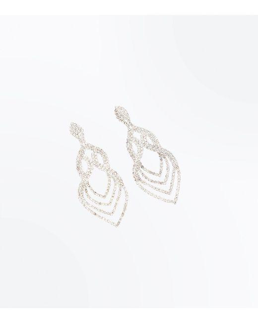 New Look - Metallic Silver Crystal Embellished Loop Chandelier Earrings - Lyst