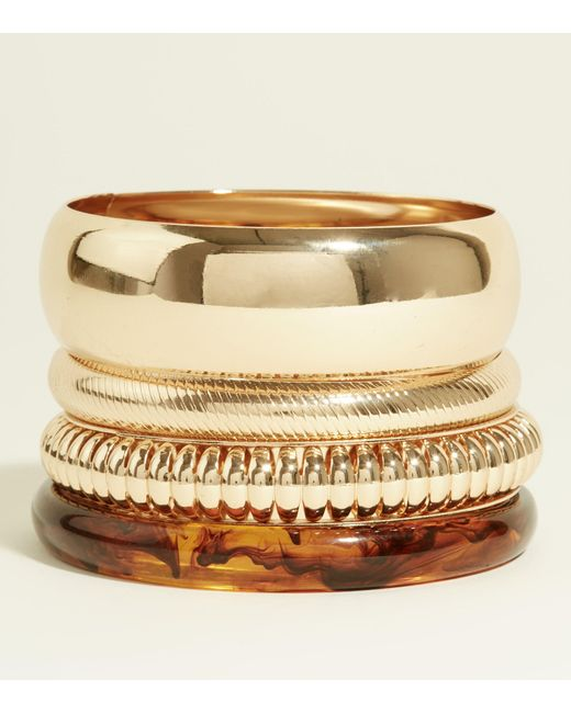 New Look - Brown Resin And Gold Bangles - Lyst