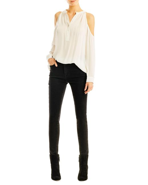 Nicole Miller - White Leigh Cold Shoulder Silk Blouse - Lyst