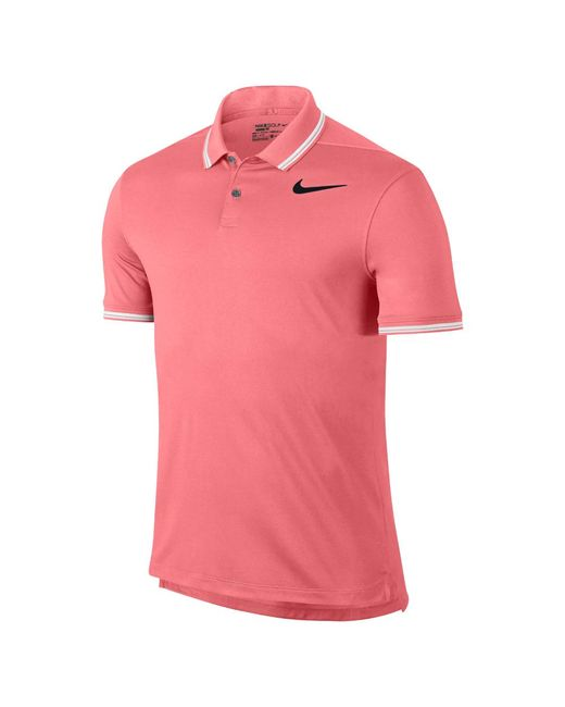 Nike dry tipped men 39 s slim fit golf polo shirt in pink for for Slim fit golf shirts