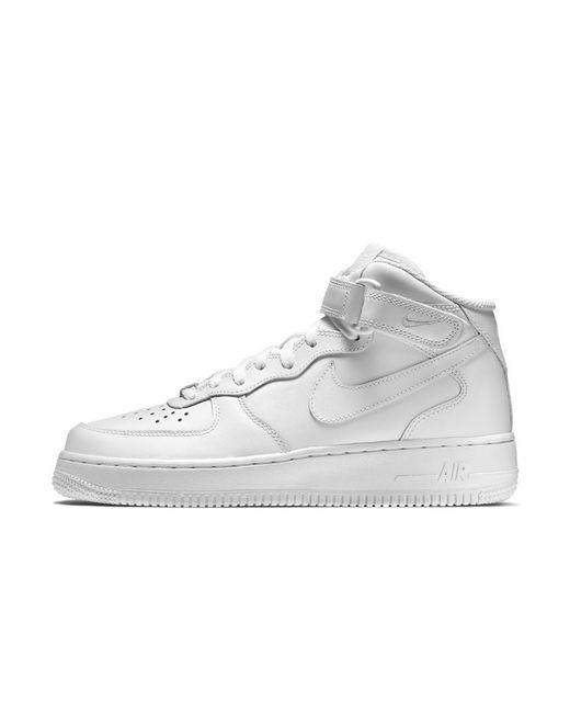 lyst nike air force 1 metà 07 pelle donne scarpa in bianco.