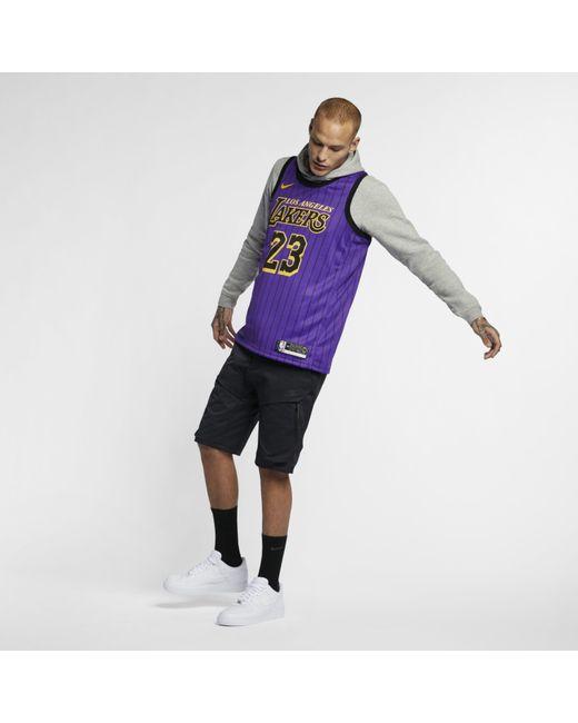 super popular 026b1 2207f Nike Lebron James Nba City Edition Swingman Jersey in Purple ...