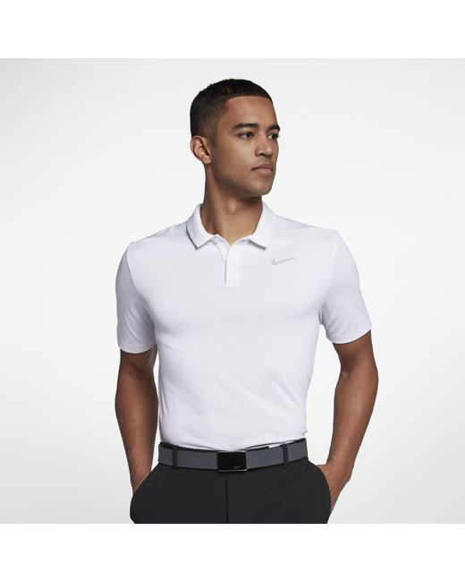 632dd95199fe Lyst - Nike Breathe Men s Standard Fit Golf Polo Shirt in White for Men
