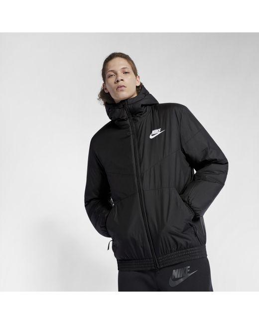 Nike Sportswear Synthetic Fill Hooded Jacket in Black for Men - Save ... 4227762b7