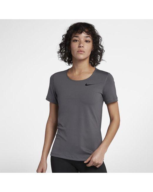 62bb5512c17e Lyst - Nike Pro Women s Short Sleeve Training Top in Gray