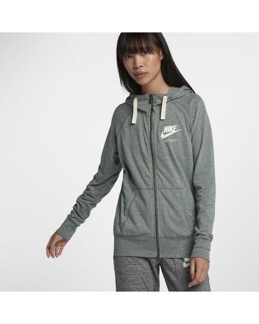 c8d33814f101 Lyst - Nike Sportswear Gym Vintage Women s Full-zip Hoodie in Green