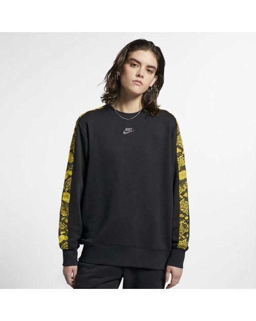 5407ab811acf Nike Sportswear Printed Crew in Black - Lyst