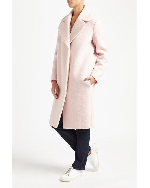 Maje Gymon Boiled Wool Long Coat in Pink - Save 21% | Lyst