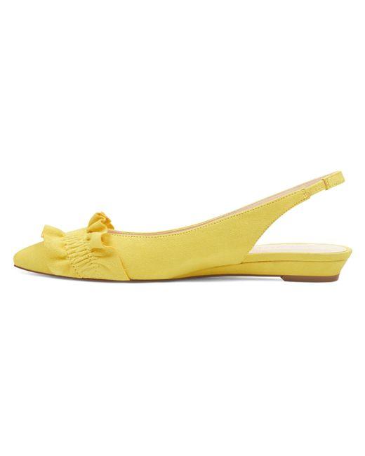 80ba3b8331b ... Nine West - Yellow Samantha Slingback Flats - Lyst ...