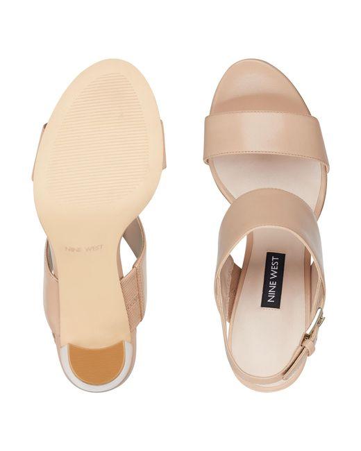 4ecae7d3dd1 ... Nine West - Natural Narolyn Block Heel Sandals - Lyst ...