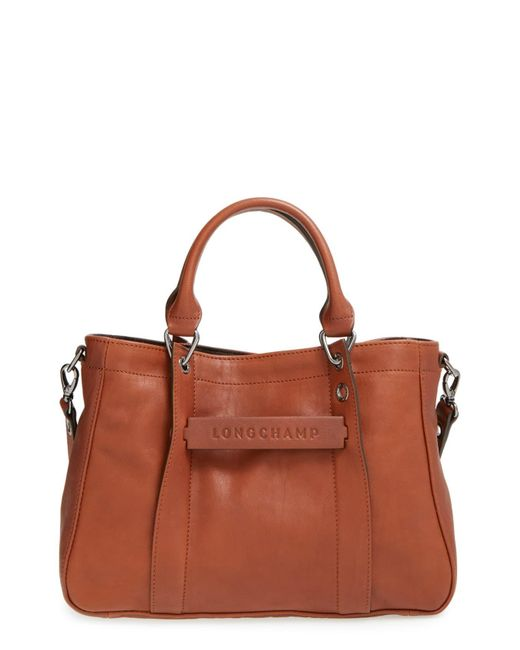 Longchamp Brown 'small 3d' Leather Tote