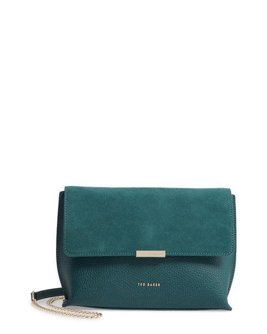 f64166cbe Ted Baker - Green Lisa Bar Detail Suede & Leather Crossbody Bag - Lyst ...