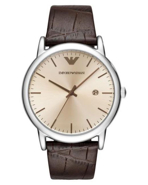Emporio Armani - Brown Round Leather Strap Watch for Men - Lyst