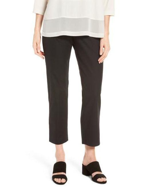 Eileen Fisher - White Organic Stretch Cotton Twill Ankle Pants - Lyst