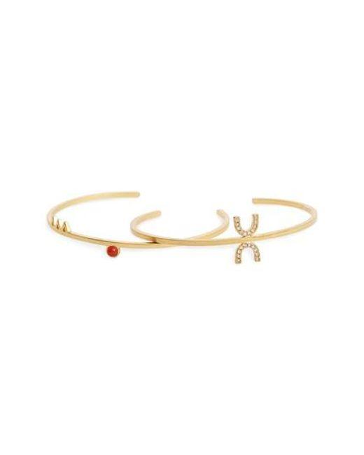 Madewell | Metallic Delicate Jewel Set Of 2 Cuffs | Lyst