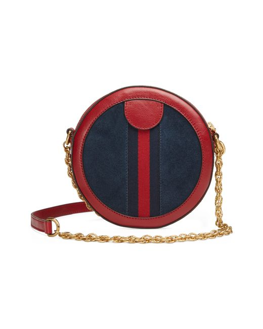 f1363c6f6237 ... Gucci - Red Ophidia Small Suede & Leather Circle Crossbody Bag - - Lyst