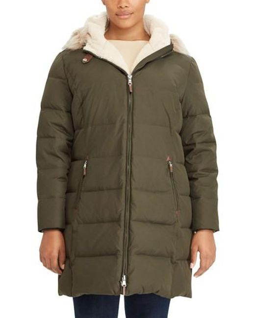 Lauren by Ralph Lauren | Green Quilted Down & Feather Fill Parka With Faux Fur Trim | Lyst