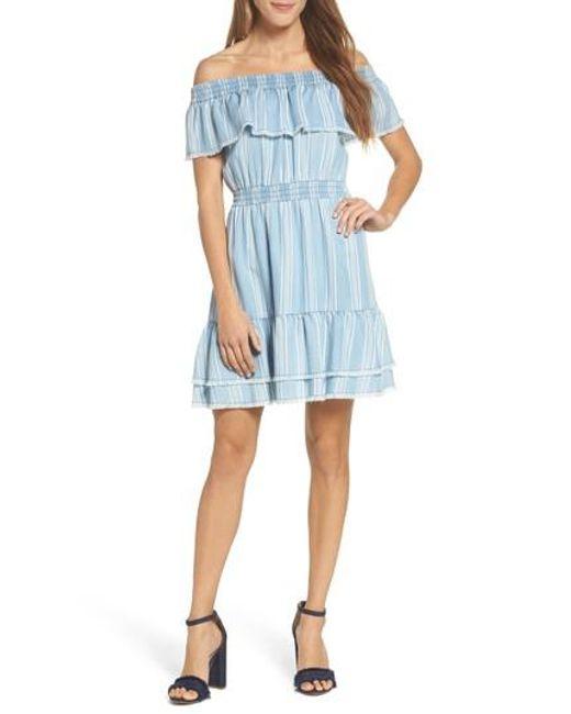 BB Dakota - Blue Coco Stripe Off The Shoulder Ruffle Dress - Lyst