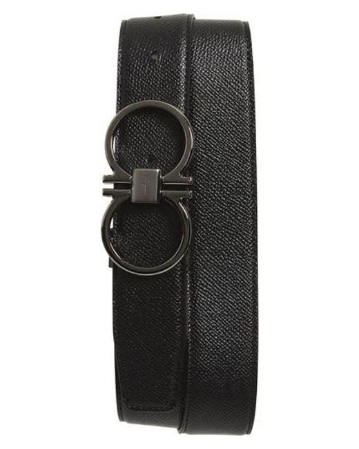 Ferragamo - Black Double Gancio Leather Belt for Men - Lyst