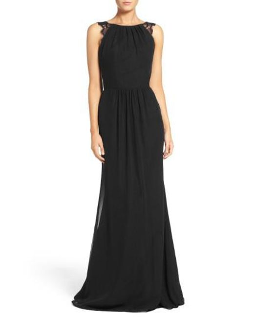 Hayley Paige Occasions | Black Lace Strap Gathered Chiffon Gown | Lyst
