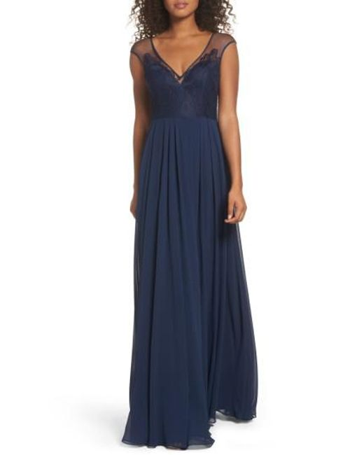 Hayley Paige Occasions | Blue Mixed Media A-line Gown | Lyst
