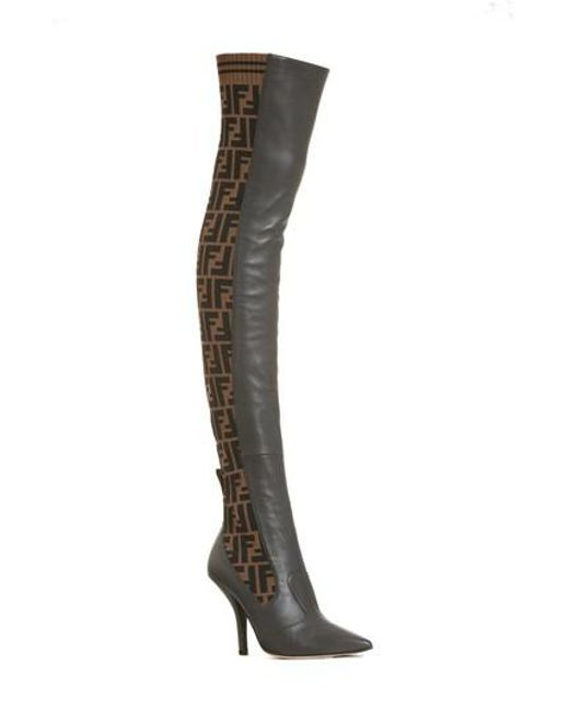 Fendi - Brown Rockoko Over The Knee Boot - Lyst