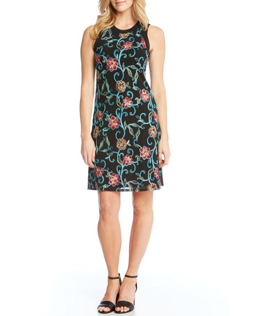 Karen Kane - Multicolor Embroidered Mesh Sheath Dress - Lyst