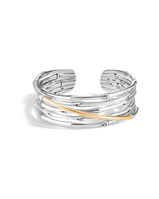 John Hardy - Metallic Bamboo 18k Gold & Silver Flex Cuff Bracelet - Lyst