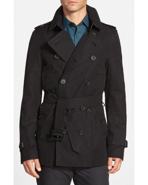 Burberry | Black Sandringham'Short Double-Breasted Trench Coat for Men | Lyst