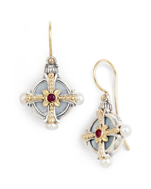 Konstantino - Metallic Etched Silver Pearl & Ruby Drop Earrings - Lyst