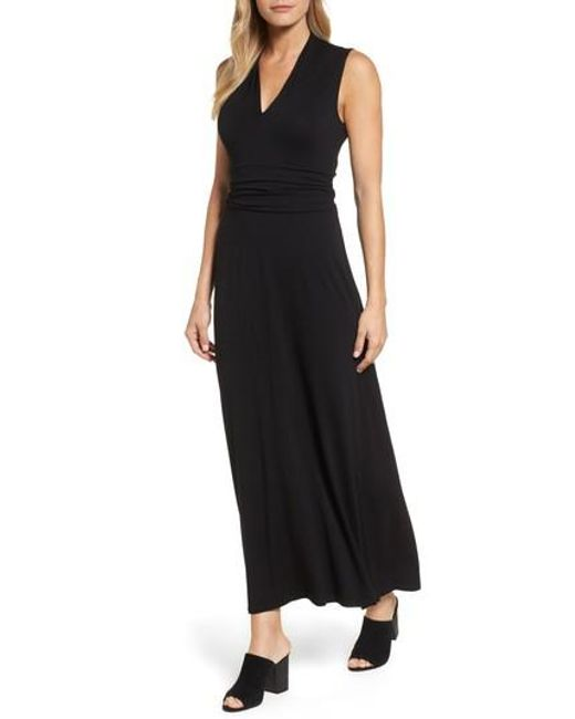 Vince Camuto | Black V-neck Maxi Dress | Lyst