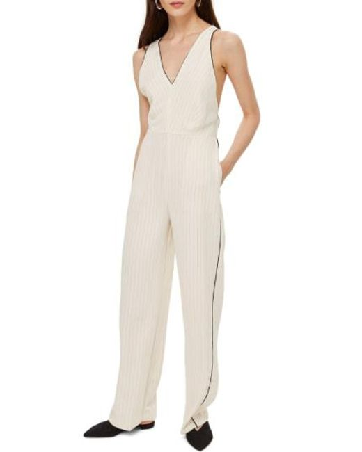 79fbdef495e Lyst - Topshop Pinstripe Jumpsuit in White