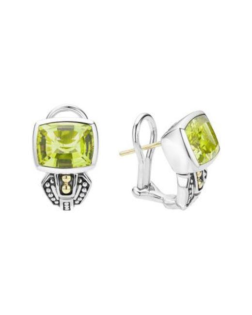 Lagos | Green 'caviar Color' Semiprecious Stone Stud Earrings | Lyst