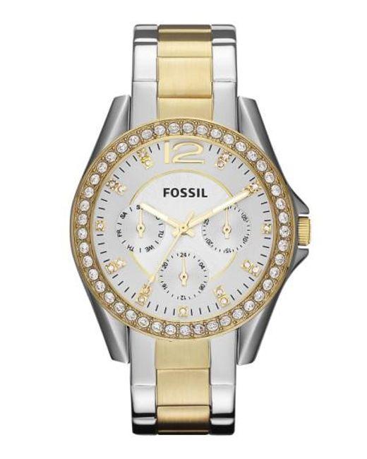 Fossil   Metallic 'riley' Round Crystal Bezel Bracelet Watch   Lyst