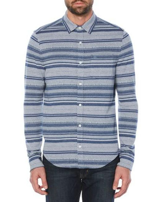 Original penguin Fair Isle Knit Shirt in Blue for Men | Lyst