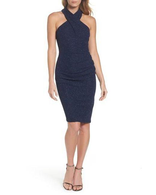 Eliza J   Blue Glitter Halter Neck Sheath Dress   Lyst