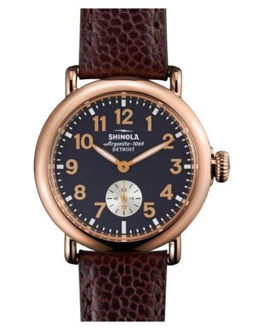 Shinola - Blue 'the Runwell' Leather Strap Watch - Lyst